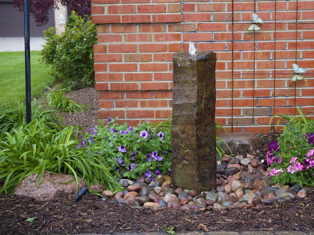 Single Basalt outdoor fountain