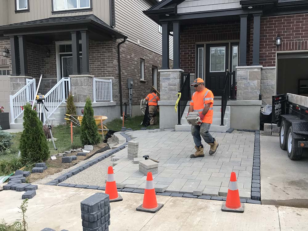Paver Driveway In Kitchener Being Constructed By Soares Landscaping